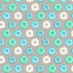 Iced Donuts- Blue on light grey - 1 inch donuts