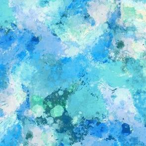 Watercolour Abstract Paint & Splatters Blue Mint Green