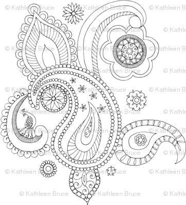 Paisley Colouring Page