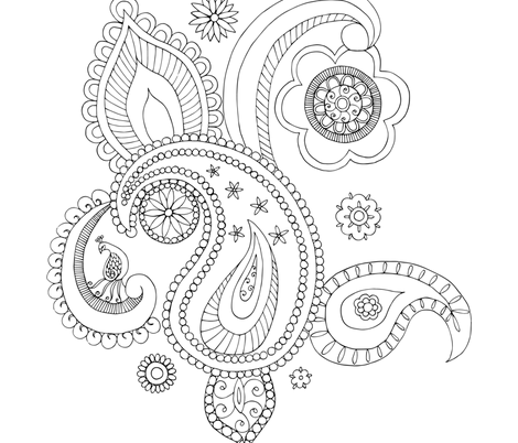 Paisley Colouring Page fabric by kathleenbruceillustration on Spoonflower - custom fabric