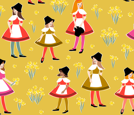 Merched - Mwstard (Mawr) fabric by cerigwen on Spoonflower - custom fabric