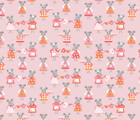 Tea Time Mouse fabric by andie_hanna on Spoonflower - custom fabric