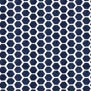 Indigo Watercolor Hexagon