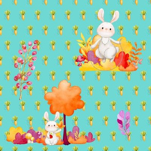 CUTE BUNNY AND TREE AQUA