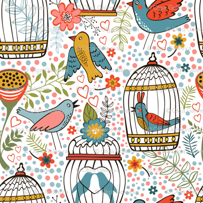Flowers and birds pattern 07