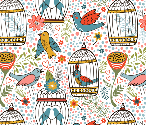 Flowers and birds pattern 07 fabric by olillia on Spoonflower - custom fabric