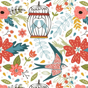 Flowers and birds pattern 06