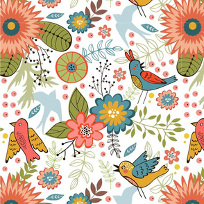 Flowers and birds pattern 05