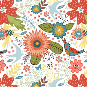 Flowers and birds pattern 04