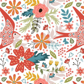 Flowers and birds pattern 03