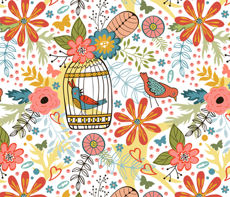 Flowers and birds pattern fabric by olillia on Spoonflower - custom fabric
