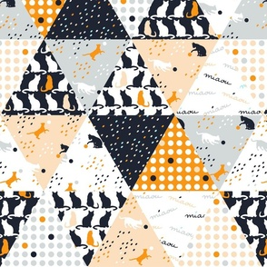 Wholecloth triangle quilt - Playful cats triangle quilt blue, peach, grey white