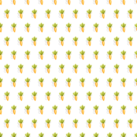 BUNNY MINI CARROTS WHITE fabric by floweryhat on Spoonflower - custom fabric