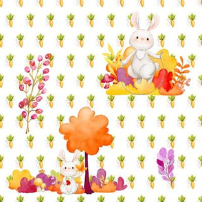 CUTE BUNNY AND TREE WHITE