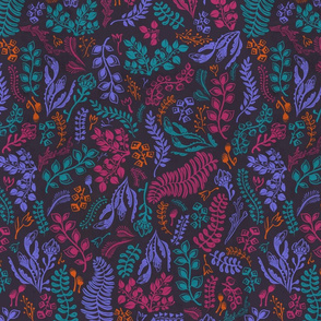 flowers pattern dark grey