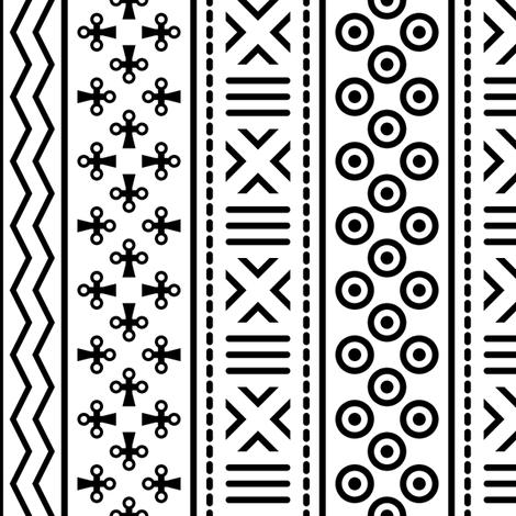 06898993 : mudcloth : white + black fabric by sef on Spoonflower - custom fabric