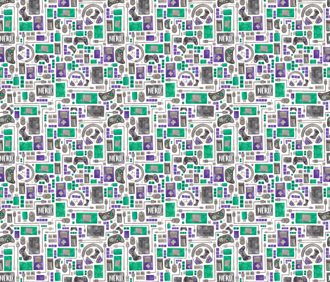 Nerd, Gamer or Computer Geek Pattern fabric by elena_o'neill_illustration_ on Spoonflower - custom fabric