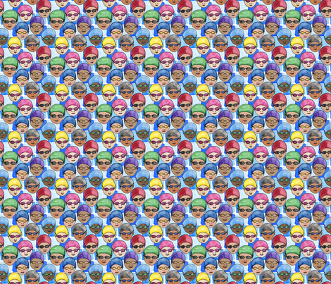 Cap and Goggles on Pool Tiles fabric by eileenmckenna on Spoonflower - custom fabric