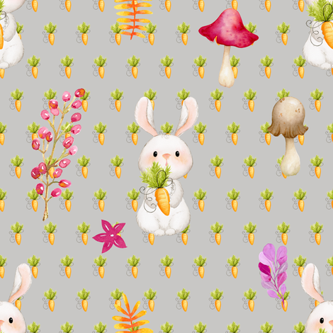 BUNNY CARROTS AND MUSHROOM ON GREY fabric by floweryhat on Spoonflower - custom fabric