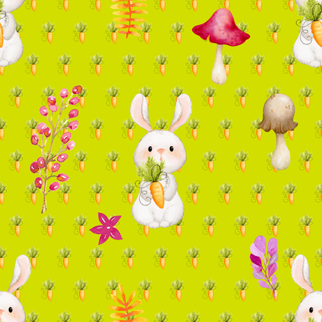BUNNY CARROTS AND MUSHROOM LIME GREEN fabric by floweryhat on Spoonflower - custom fabric