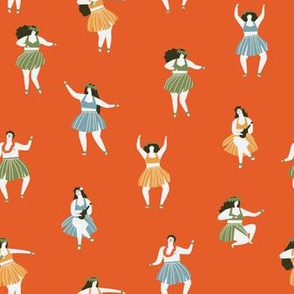 Hula dancers pattern red