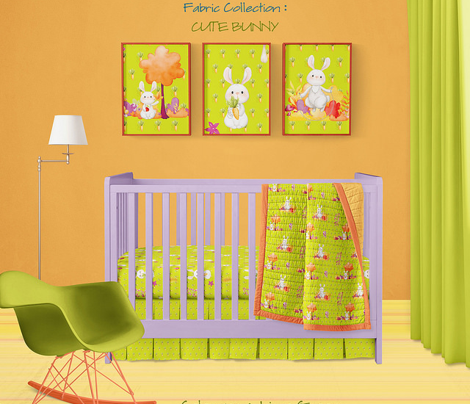 CUTE BUNNY AND TREE LIME GREEN