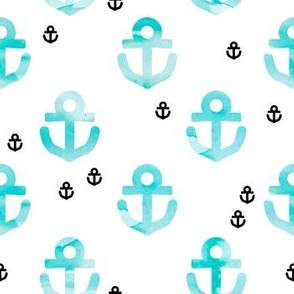 Watercolors anchor marine theme hello sailor life aqua blue black