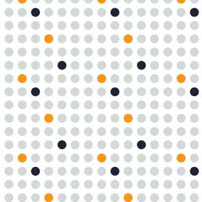 Grey orange and night blue dots on white