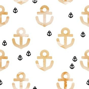 Watercolors anchor marine theme hello sailor life ochre black