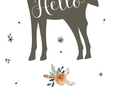 "42""x72"" Western Autumn Hello Deer  fabric by shopcabin on Spoonflower - custom fabric"