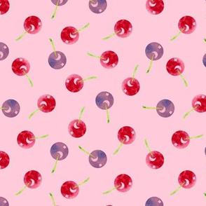 Scattered Cherries Watercolor on Pink