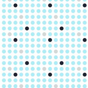 Modern polka dots light blue on white
