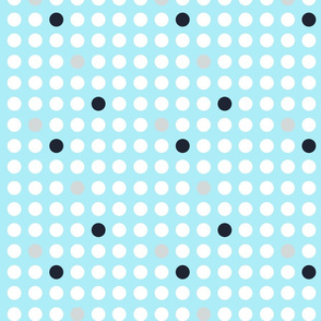 Modern  white polka dots on light blue