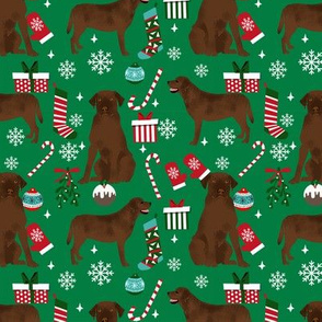 Chocolate Labrador Retriever christmas fabric chocolate lab dog breed green
