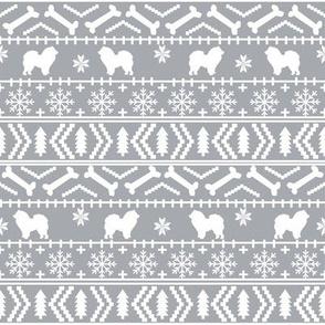 Chow Chow fair isle christmas dog breed fabric ugly sweater grey