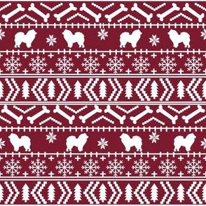 Chow Chow fair isle christmas dog breed fabric ugly sweater ruby