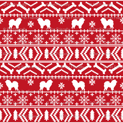 Chow Chow fair isle christmas dog breed fabric ugly sweater red
