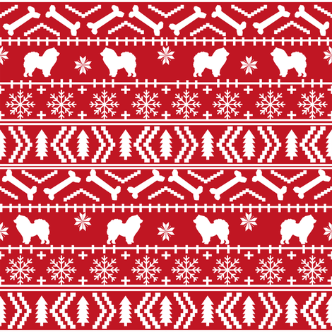 Chow Chow fair isle christmas dog breed fabric ugly sweater red fabric by petfriendly on Spoonflower - custom fabric