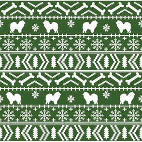 Chow Chow fair isle christmas dog breed fabric ugly sweater med green