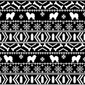 Chow Chow fair isle christmas dog breed fabric ugly sweater black and white