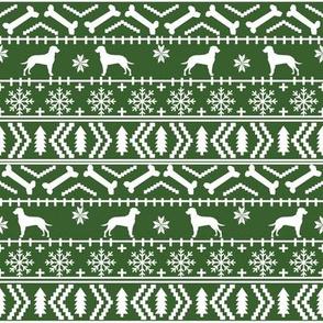 Dalmatian fair isle christmas dog breed fabric ugly sweater med green