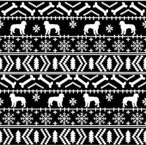 Golden Doodle fair isle christmas dog breed fabric ugly sweater black and white