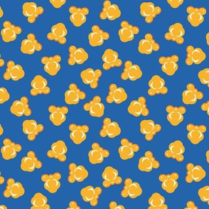 Scattered Popcorn on Blue