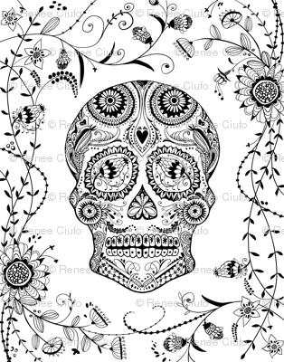 Black and White Sugar Skull Coloring Book