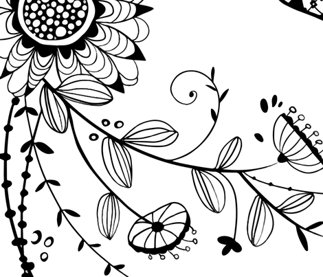 Black and White Sugar Skull Coloring Book fabric by reneeciufo on Spoonflower - custom fabric