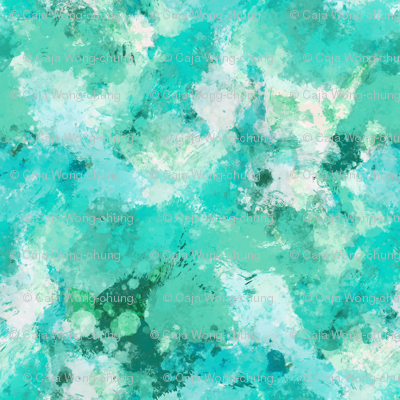 Watercolour Abstract Paint & Splatters Green Mint