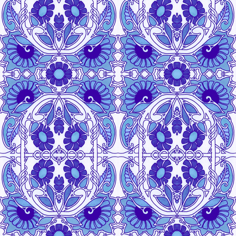 Blooming Blue fabric by edsel2084 on Spoonflower - custom fabric