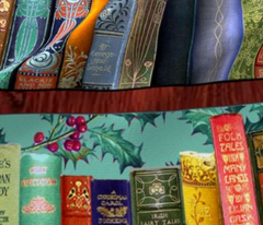 Antique Books // Vintage Bookshelf/ Christmas Vintage Books, holly berries, bookshelf, Christmas books, Holidays, Hygge