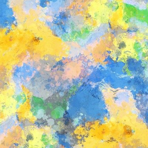 Watercolour Abstract Paint & Splatters Blue Yellow