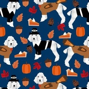 poodle fabric dogs thanksgiving design